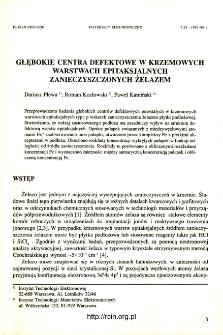 Głębokie centra defektowe w krzemowych warstwach epitaksjalnych zanieczyszczonych żelazem= Deep-level defects in Fe-contaminated epitaxial silicon