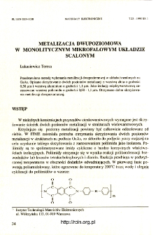 Metalizacja dwupoziomowa w monolitycznym mikrofalowym ukadzie scalonym = Two-layer metallization for monolitic microwave solid state structures