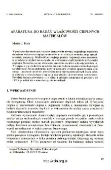 Aparatura do badan właściwości cieplnych materiałów = Apparatus and research problems concerning investigations of material thermal properties