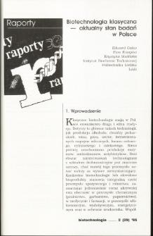 Biotechnologia klasyczna— aktualny stan badań w Polsce