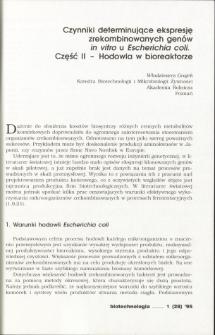 Czynniki determinujące ekspresję zrekombinowanych genów in vitro u Escherichia coli. Część II - Hodowla w bioreaktorze