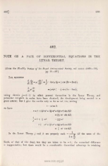 Note on a pair of Differential Equations in the Lunar Theory