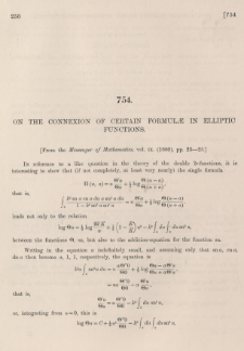 On the connexion of certain formulae in elliptic functions
