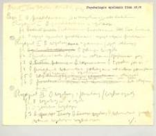 Psychologia myślenia. 1. Cz. I. Zima 1908/9 4 godz.[iny]