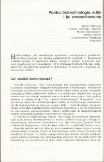 Plant biotechnology in Poland and its determinants