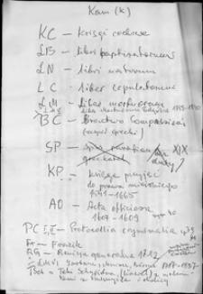 Kartoteka Słownika Antroponimii Polski od XVI do XVIII w.; Kam (k) Z - Ż