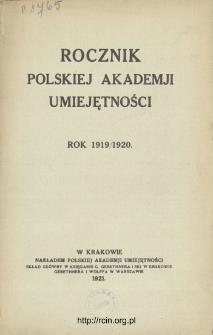 Rocznik Polskiej Akademii Umiejętności, Rok 1919/1920