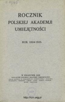 Rocznik Polskiej Akademii Umiejętności, Rok 1924/1925