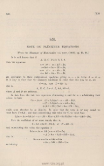 Note on Plucker's equations