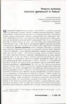Prawna ochrona zasobów genowych w Polsce