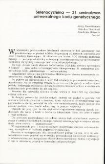 Selenocysteina — 21. aminokwas uniwersalnego kodu genetycznego