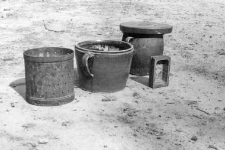 Clay pots and forms for cheese and butter called