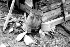 Old, damaged watering pot