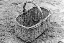 Wicker basket for shopping, mushrooms