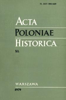 Acta Poloniae Historica. T. 40 (1979), Strony tytułowe, spis treści