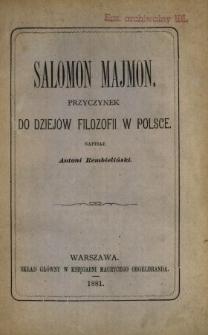 Salomon Majmon : przyczynek do dziejów filozofii w Polsce