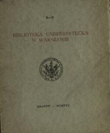 Bibljoteka Uniwersytecka w Warszawie