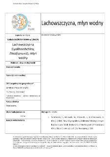 Lachowszczyzna (Lyakhovshchina,Ляхаўшчына), watermill