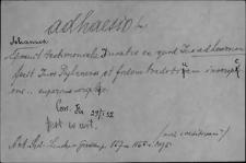 Kartoteka Słownika Łaciny Średniowiecznej; adhaesio - adnumero