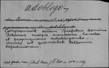 Kartoteka Słownika Łaciny Średniowiecznej; adobligo - aenus