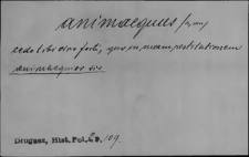 Kartoteka Słownika Łaciny Średniowiecznej; animaequus - antememoro
