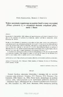 Wpływ nawożenia wapniowego na poziom fenoli u sosny zwyczajnej (Pinus sylvestris L.) w warunkach skażenia związkami glinu, siarki i fluoru