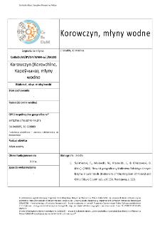Korowczyn (Korovchino,Кароўчына), watermills