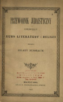 Przewodnik judaistyczny obejmujący kurs literatury i religii.