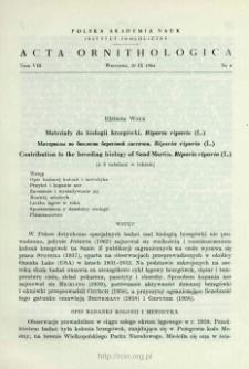 Materiały do biologii brzegówki, Riparia riparia (L.)