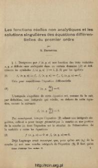 Les fonctions réelles non analytiques et les solutions singulières des équations différentielles du premier ordre
