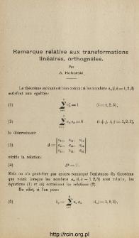 Remarque relative aux transformations linéaires, orthognales