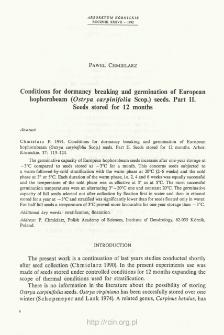 Conditions for dormancy breaking and germination of European hophornbeam (Ostrya carpinifolia Scop.) seeds. Part II. Seeds stored for 12 months