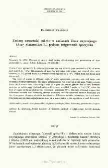 Zmiany zawartości cukrów w nasionach klonu zwyczajnego (Acer platanoides L.) podczas ustępowania spoczynku
