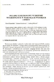 Pułapki elektronowe w krzemie wygrzewanym w warunkach wysokich ciśnień