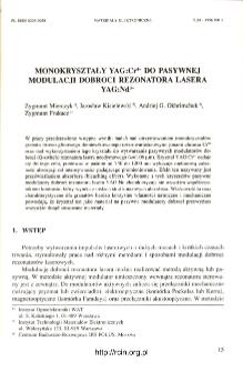 Monokryształy YAG : Cr4+ do pasywnej modulacji dobroci rezonatora lasera YAG : Nd3+