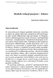 Modele relacji pacjent — lekarz