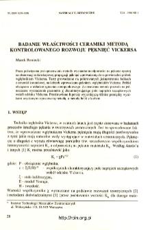 Badanie właściwości ceramiki metodą kontrolowanego rozwoju pęknięć Vickersa