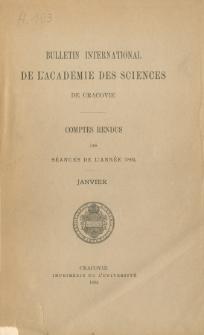 Bulletin International de L' Académie des Sciences de Cracovie : comptes rendus (1894) No. 1 Janvier