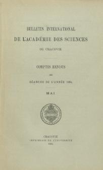 Bulletin International de L' Académie des Sciences de Cracovie : comptes rendus (1894) No. 5 Mai