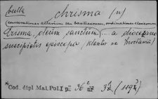 Kartoteka Słownika Łaciny Średniowiecznej; chrisma - circumductus