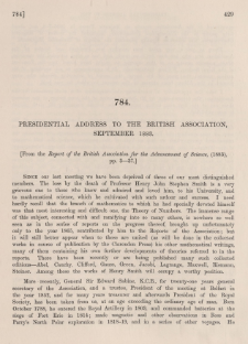 Presidential address to the british association, September 1883