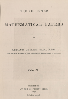The collected mathematical papers of Arthur Cayley. Vol 11, Spis treści i dodatki