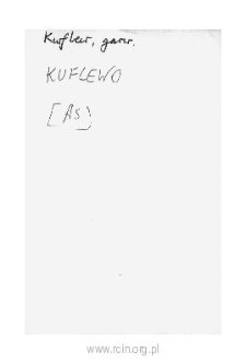 Kuflew. Files of Czersk district in the Middle Ages. Files of Historico-Geographical Dictionary of Masovia in the Middle Ages