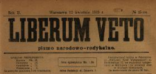 Liberum Veto : pismo narodowo-radykalne 1919 N.15