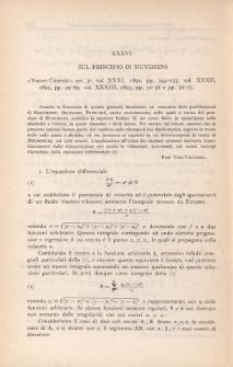 Sul principio di Huyghens
