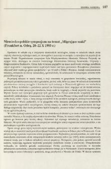 """Niemiecko-polskie sympozjum na temat """"Migrujące ssaki"""" (Frankfurt n. Odrą, 20-22 X 1993 r.)"""