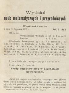Sprawozdania z Posiedzeń Towarzystwa Naukowego Warszawskiego. Wydział III, Nauk Matematycznych i Przyrodniczych. Rok X. Nr 1.