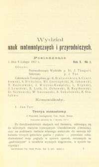 Sprawozdania z Posiedzeń Towarzystwa Naukowego Warszawskiego. Wydział III, Nauk Matematycznych i Przyrodniczych. Rok X. Nr 2.