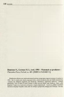 Dunstone N., Gorman M. L., (red.) 1993 - Mammals as predators - Clarendon Press, Oxford, ss. 485. [ISBN 0-19-854067-1]