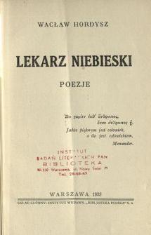 Lekarz niebieski : poezje